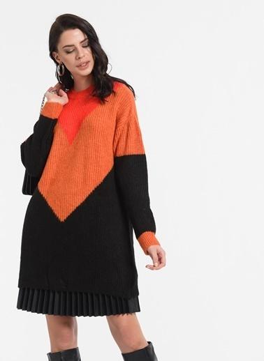 Styletag Renk Bloklu Tunik Siyah